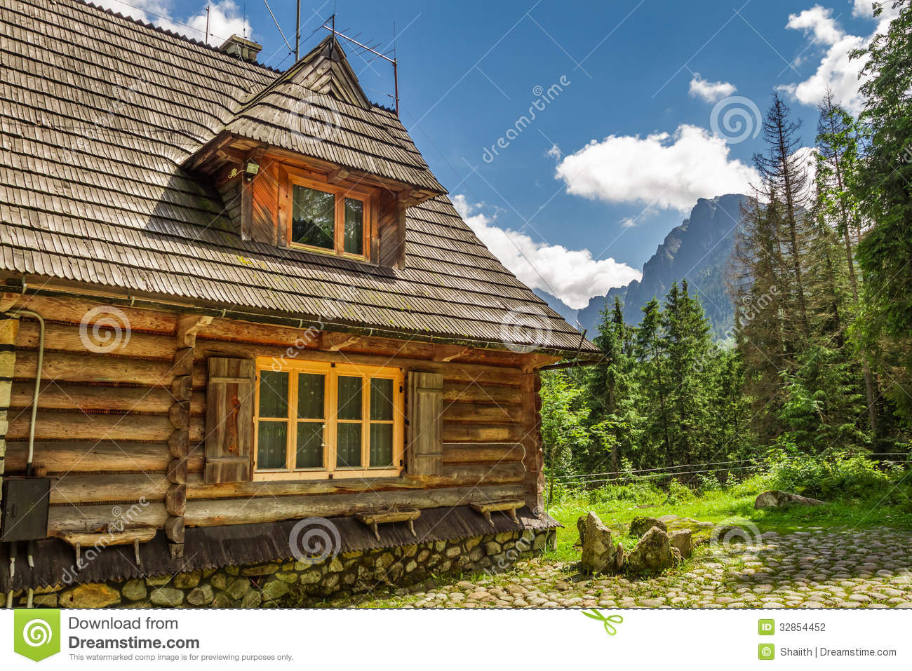 Wooden forester cottage in the mountains stock photography for Cottage in the mountains