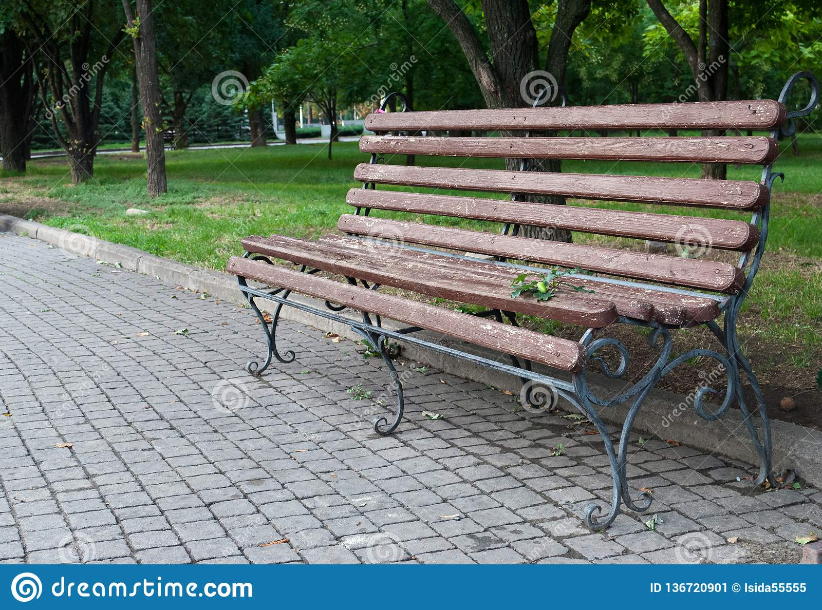 Wooden Forged Park Bench Brown Bench With Forged Metal Legs
