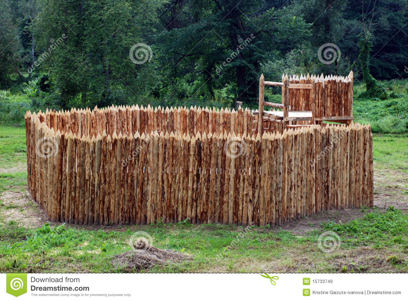 Wooden fort stock image image of palisade summer for Old wooden forts