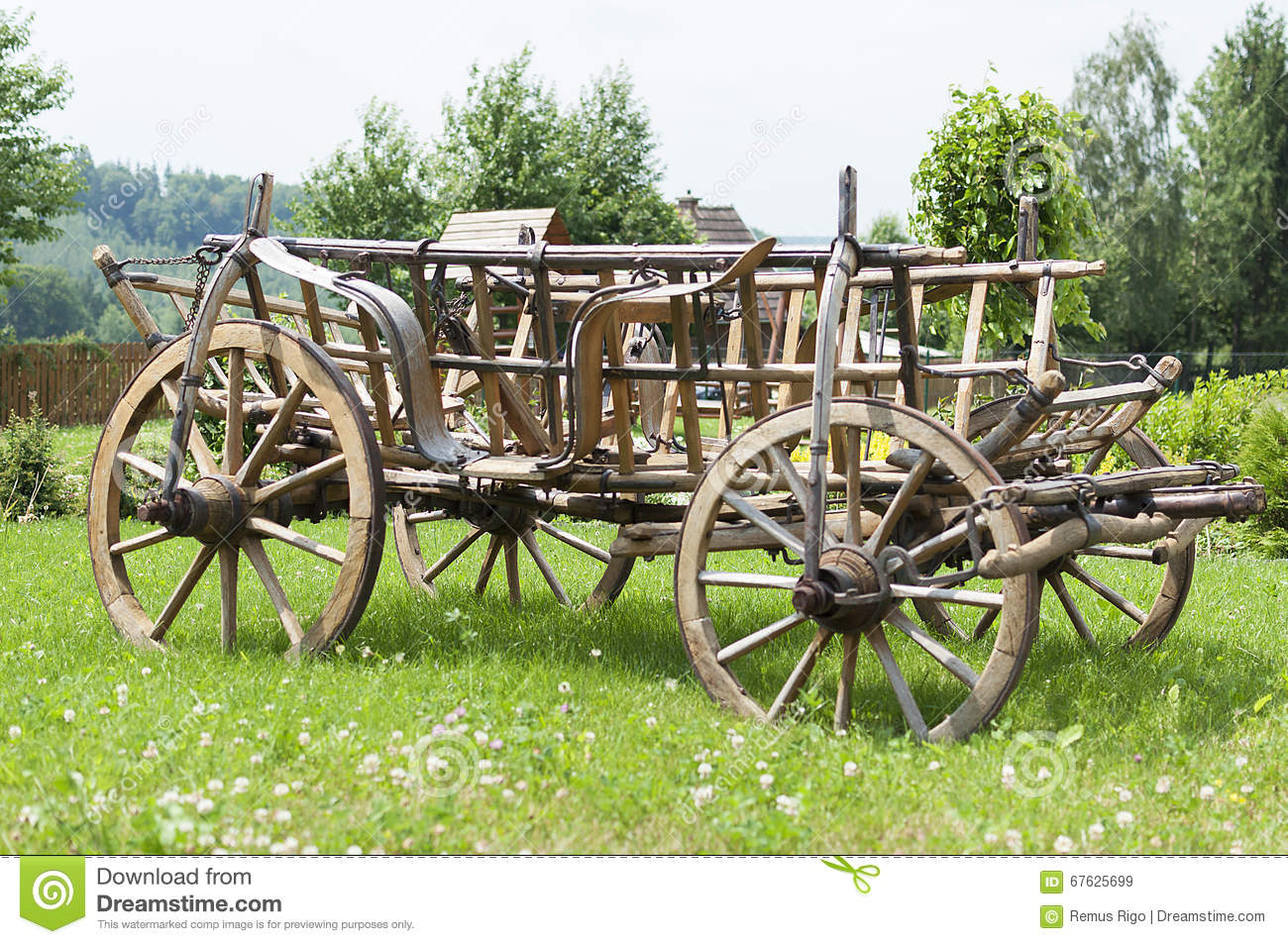 Wooden Four Wheel Cart Stock Image. Image Of Vintage