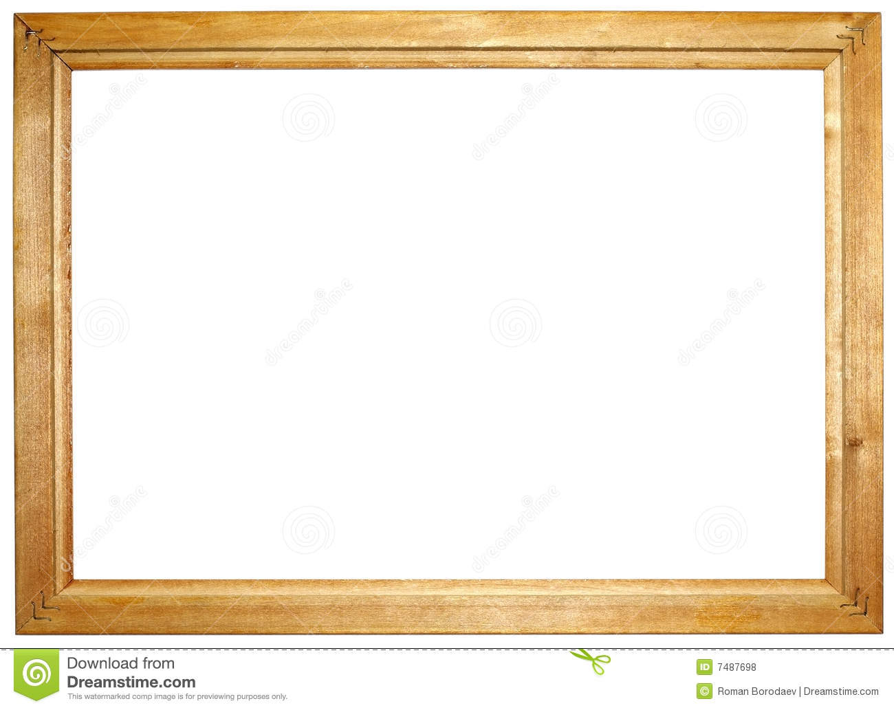 Simple wooden frame for photo with empty space for your background