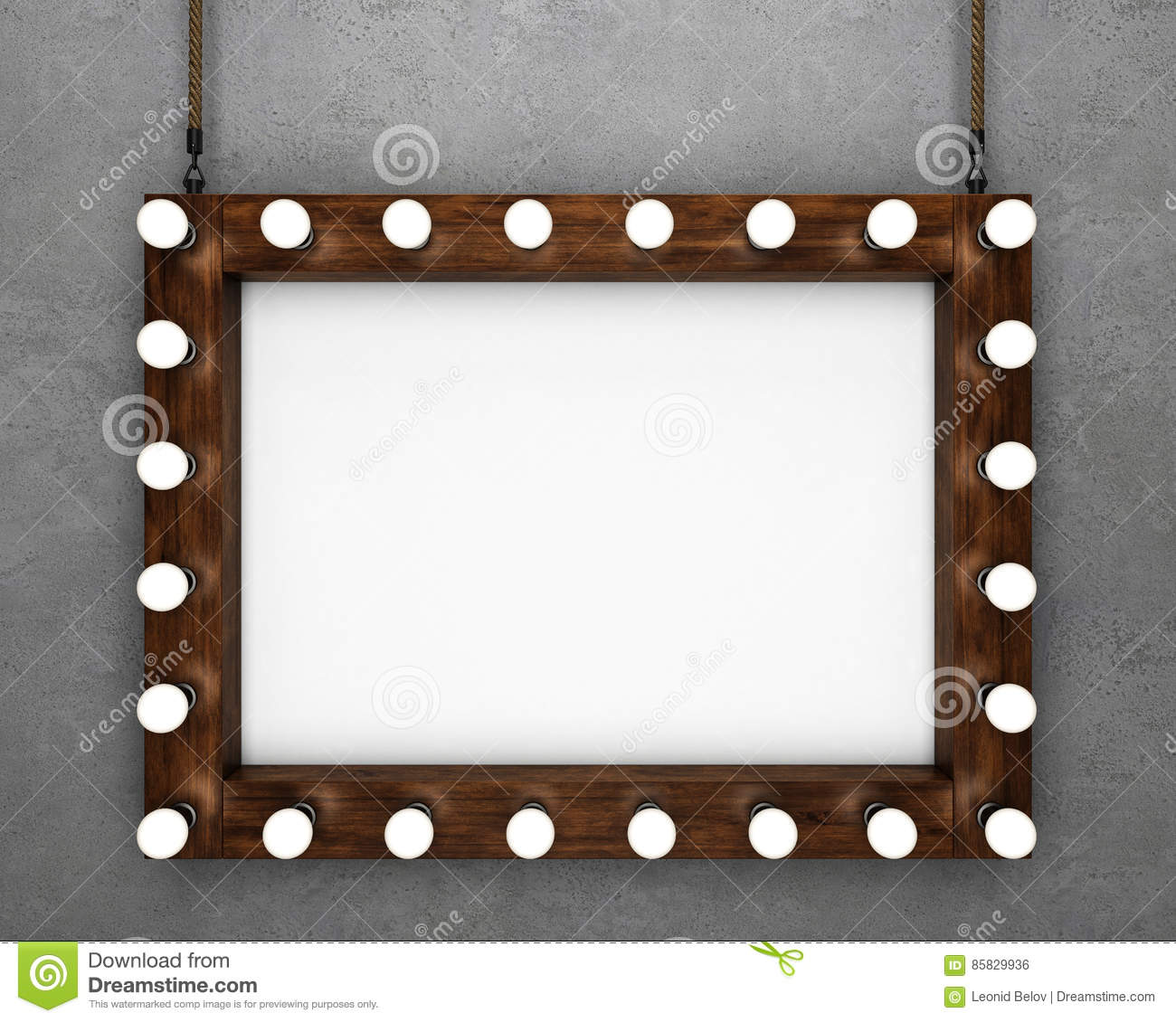 Wooden frame on concrete background illuminated by light bulbs