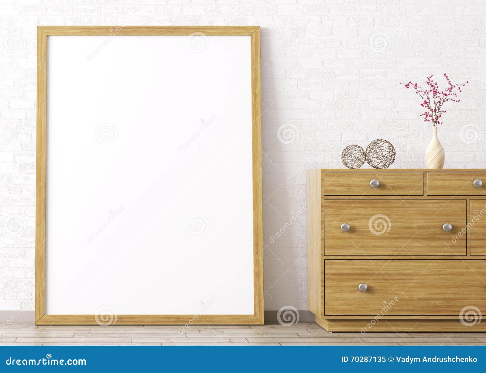 Wooden Frame And Dresser Interior Background 3d Rendering Stock ...