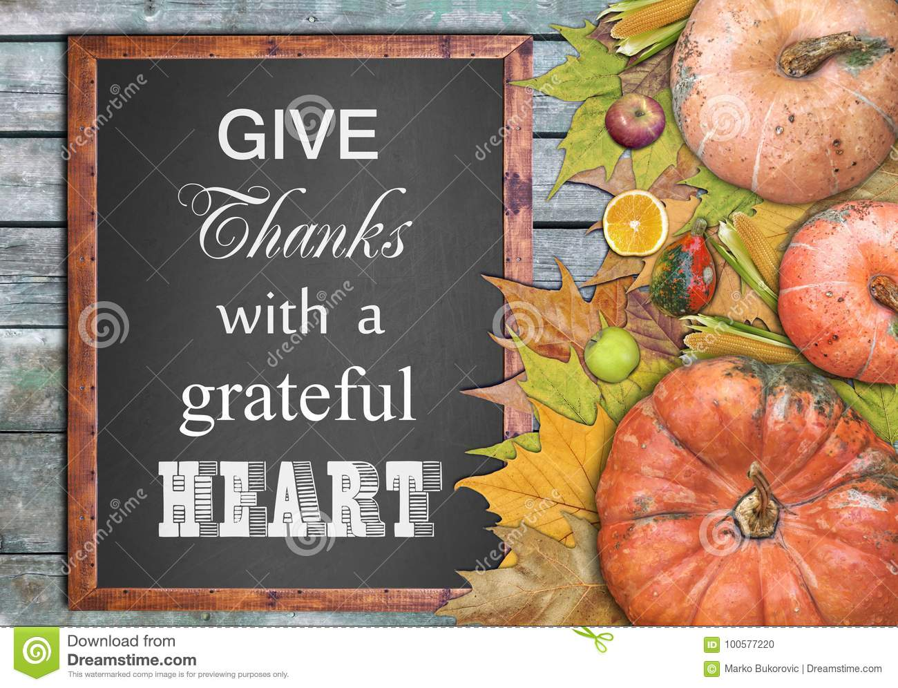 Wooden frame and fruits and give thanks with a grateful heart