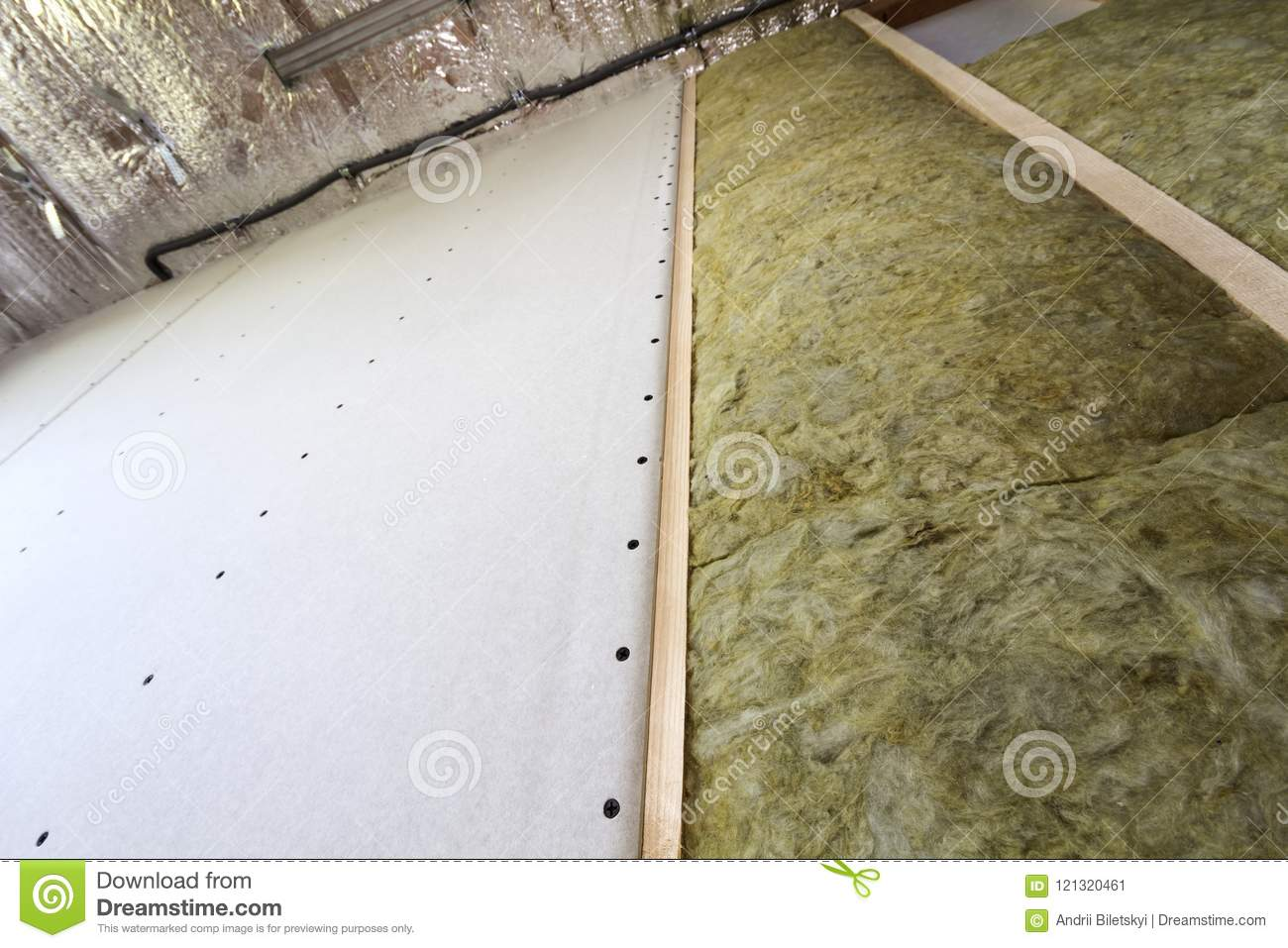 Wooden Frame For Future Walls With Drywall Plates Insulated With ...