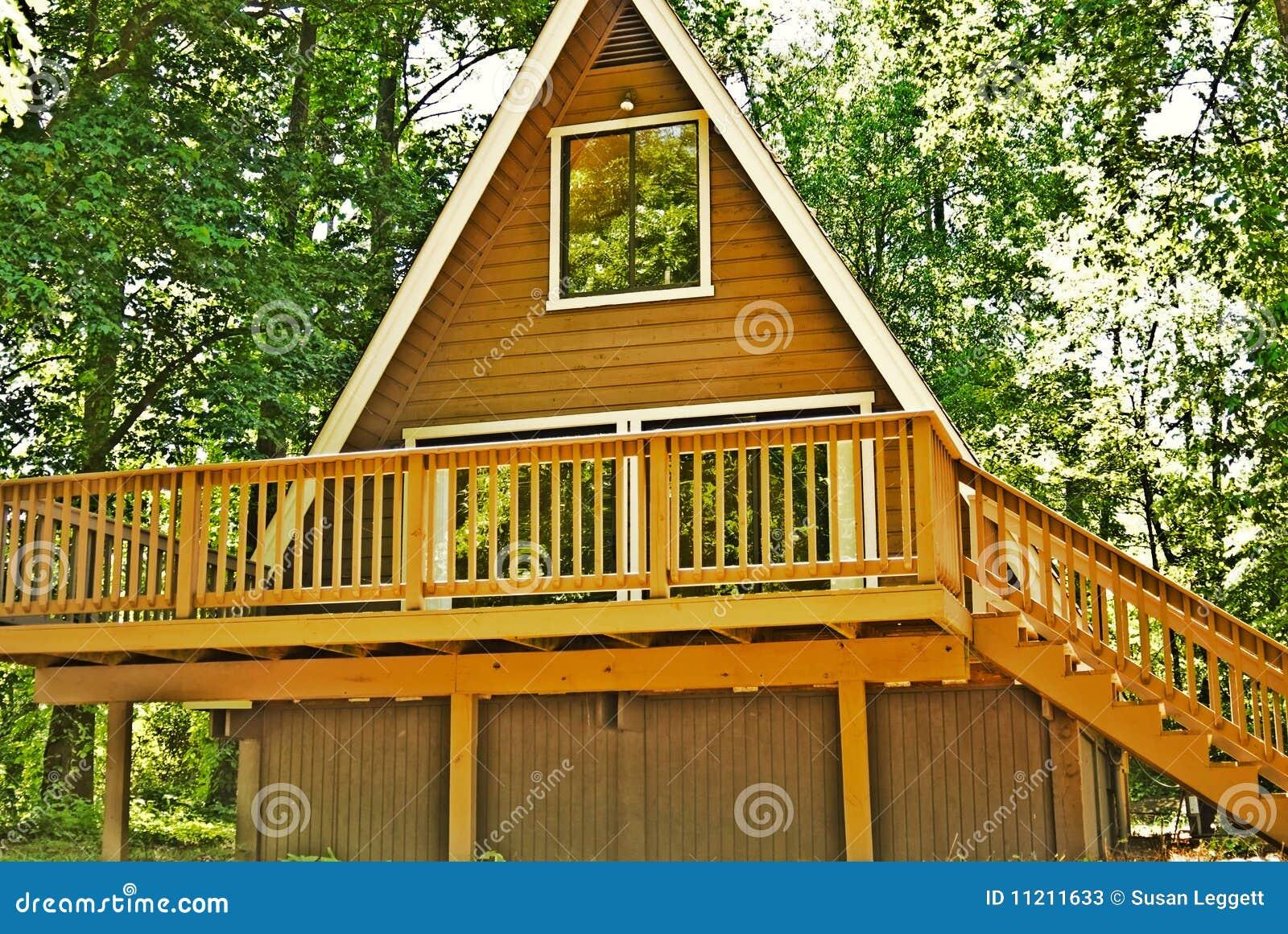 Wooden A Frame House Deck Stock Photos Image 11211633