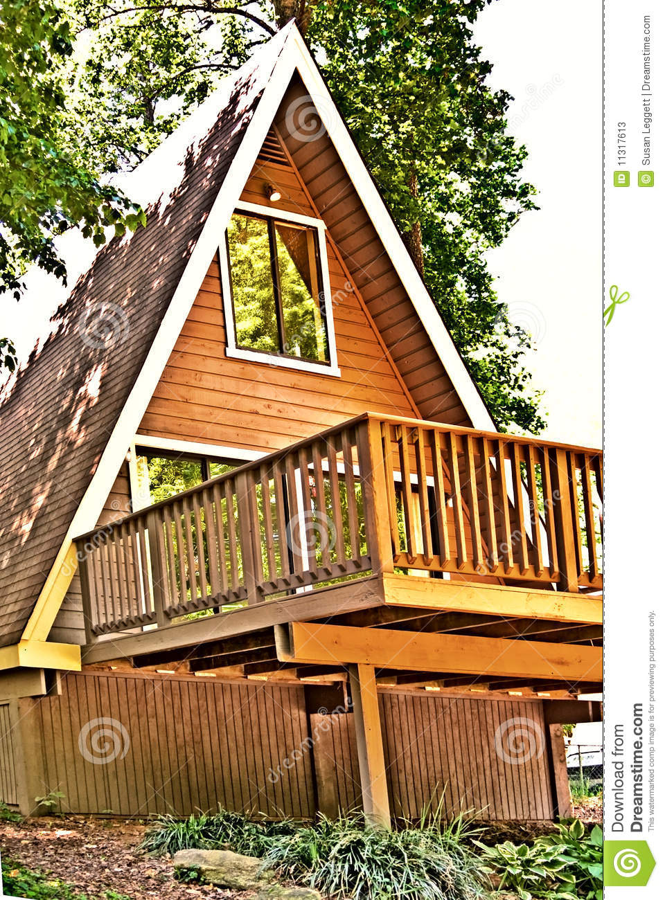 Wooden A Frame House Deck Stock Image Image 11317613