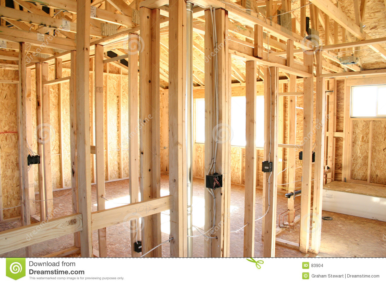 Wooden frame house interior stock photo image 83904 for Wooden house inside