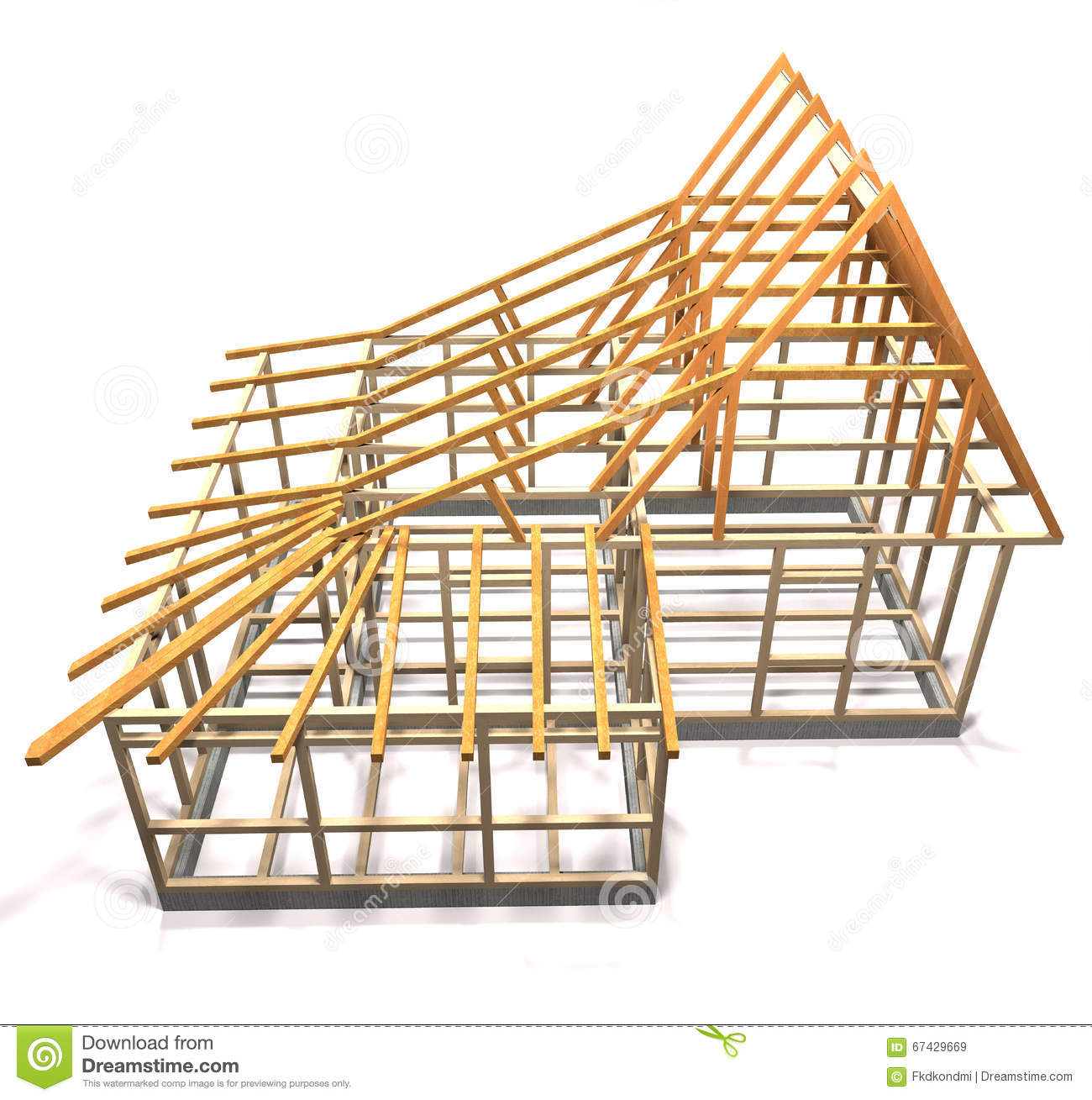 Wooden Frame Of A House (top View). Stock Illustration ...