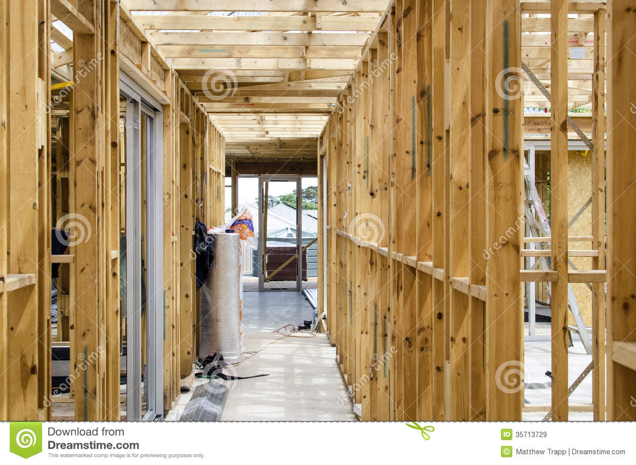 Wooden Frame Of A House Under Construction Stock Image - Image of ...