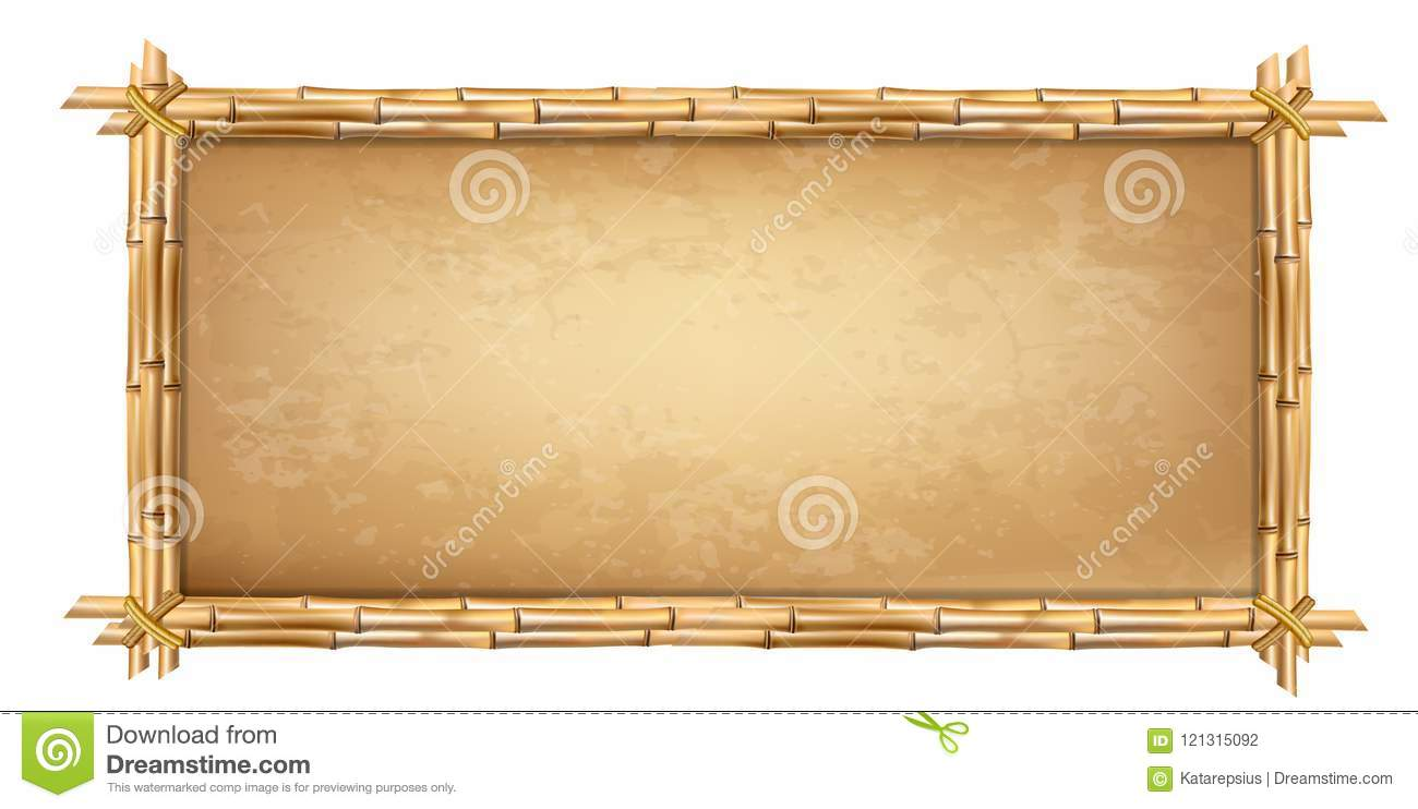 Wooden Frame Made Of Brown Bamboo Sticks With Papyrus Stock Vector ...