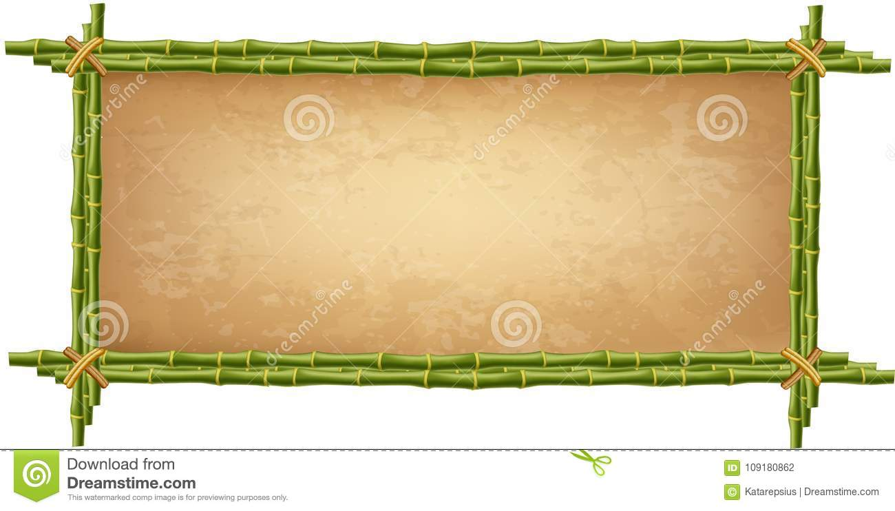 Wooden Frame Made Of Green Bamboo Sticks Stock Vector - Illustration ...