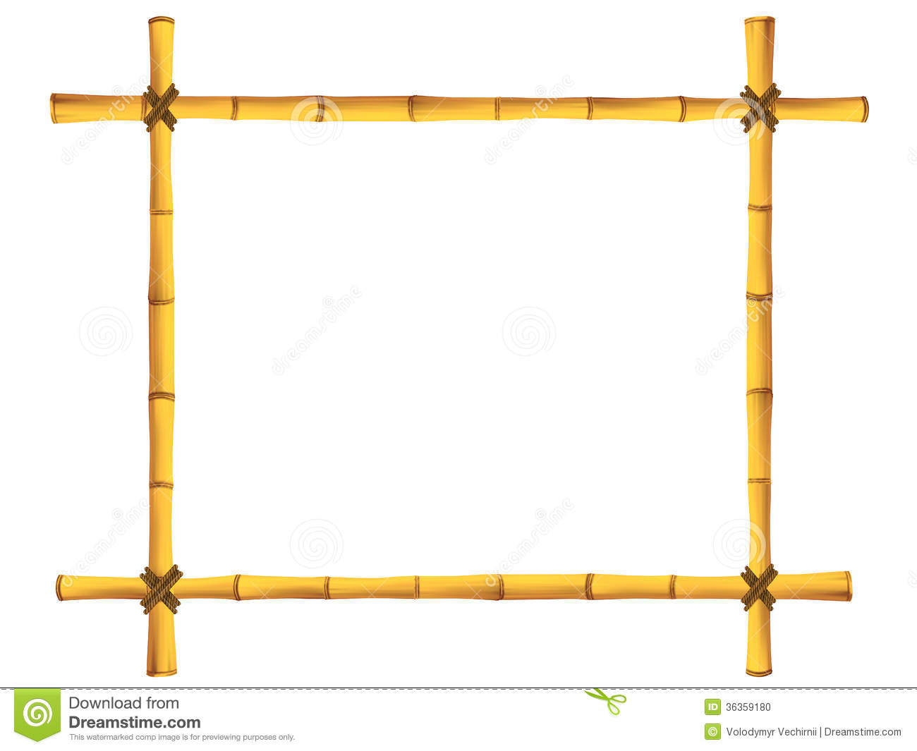 Wooden Frame Of Old Bamboo Sticks Stock Photo Image