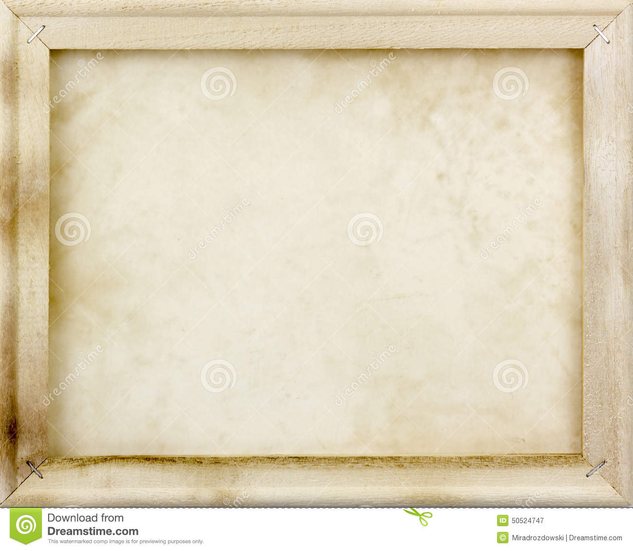 Wooden frame with old paper