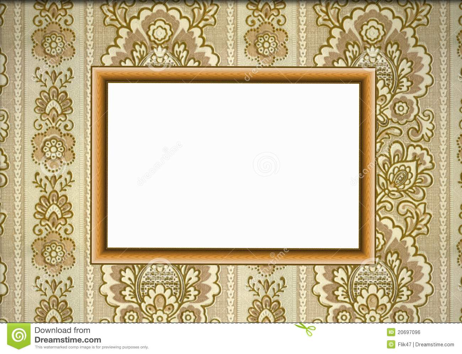 wooden frame on wallpaper royalty free stock image  image  - frame wallpaper