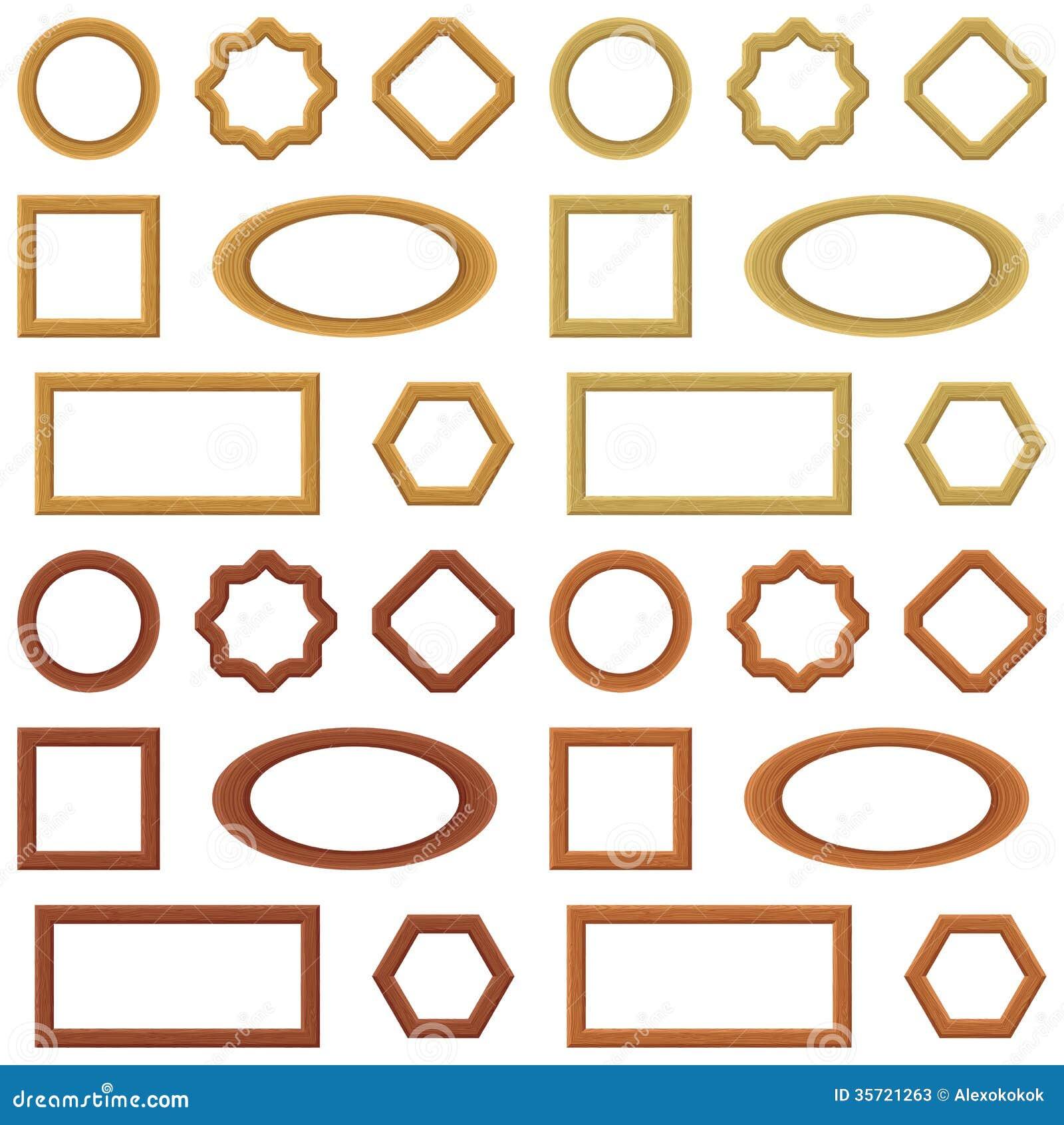 Different Glasses Frame Shapes : Wooden Frames, Set Stock Photos - Image: 35721263