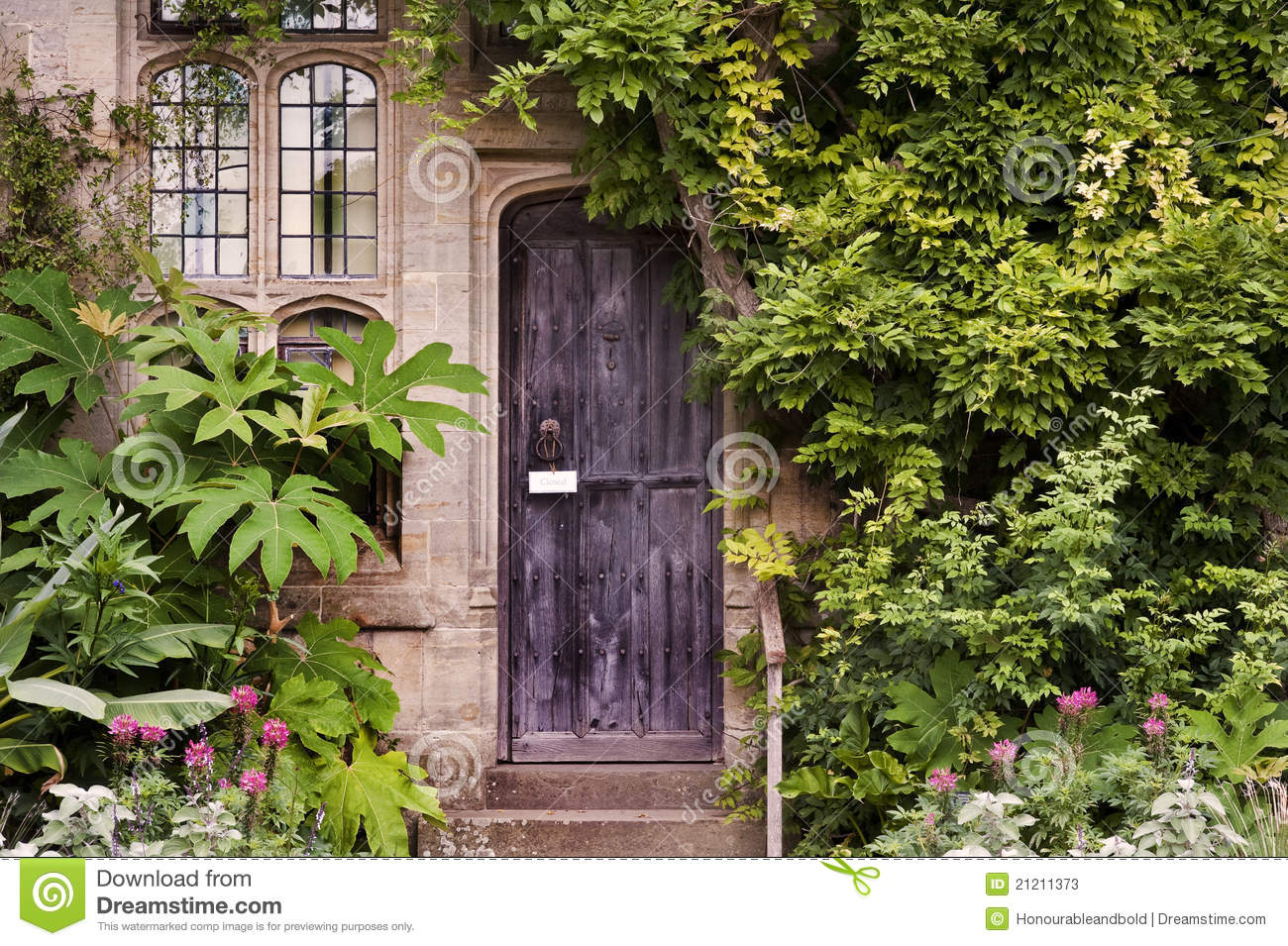 Wooden Front Door Of Old Stone Brick House Stock Photos ...