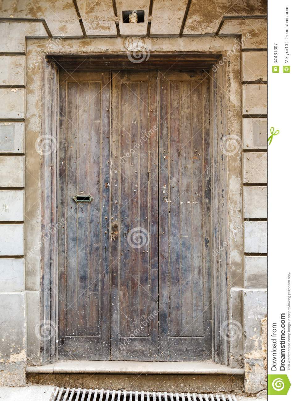 Wooden front door to the house royalty free stock for Front wooden doors for homes