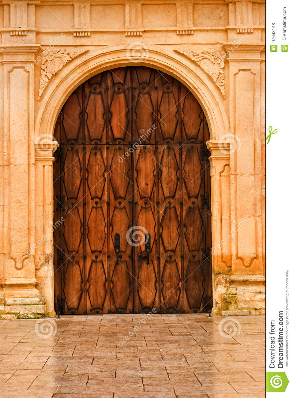 Wooden Front Doors Of San Carlos Cathedral Stock Photo Image Of