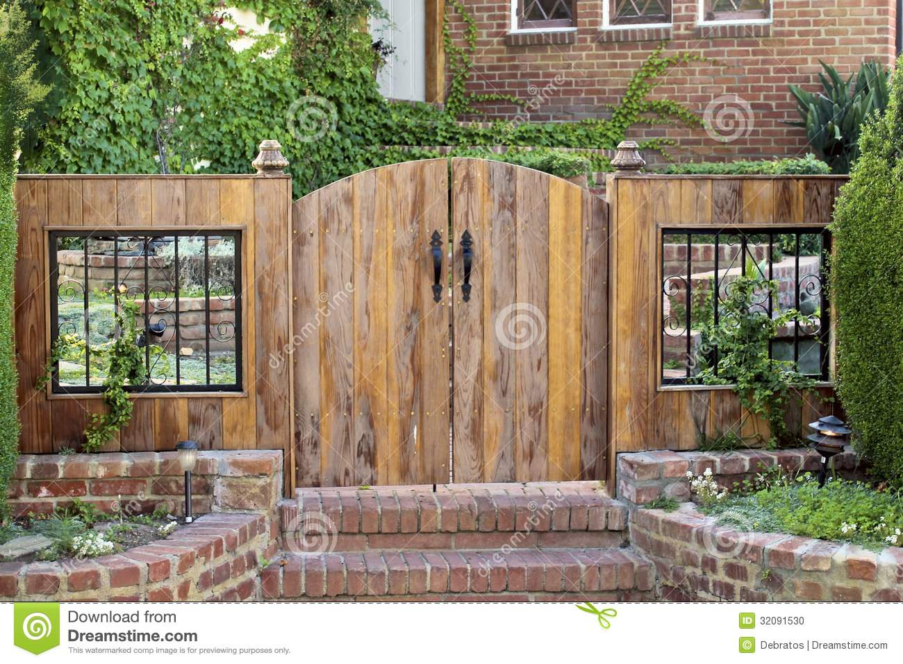 Gate Front Door And Wooden Stock Photo - Image: 32091530
