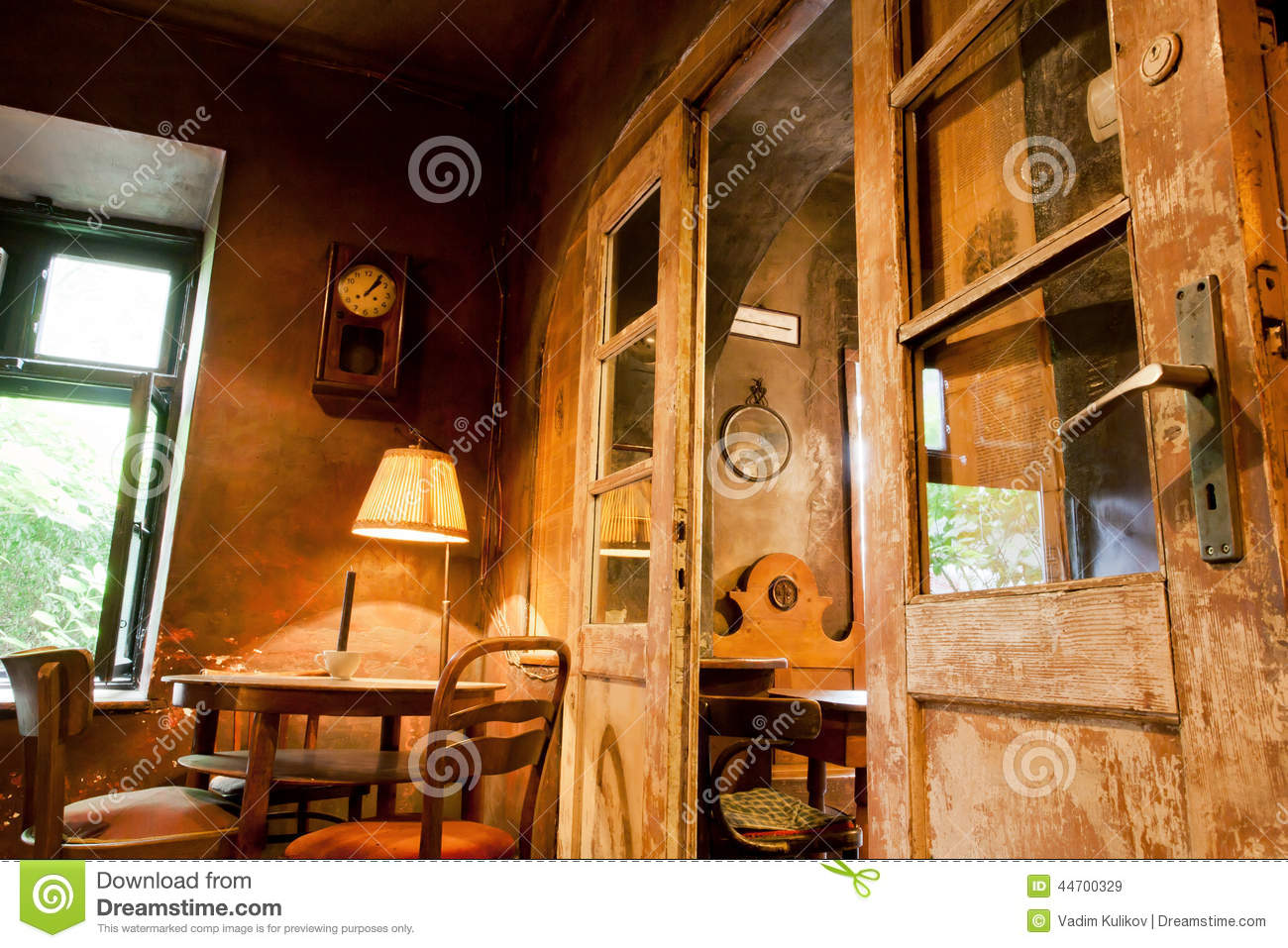 Wooden Furniture Doors And Lamps Inside The Cafe In Style Of