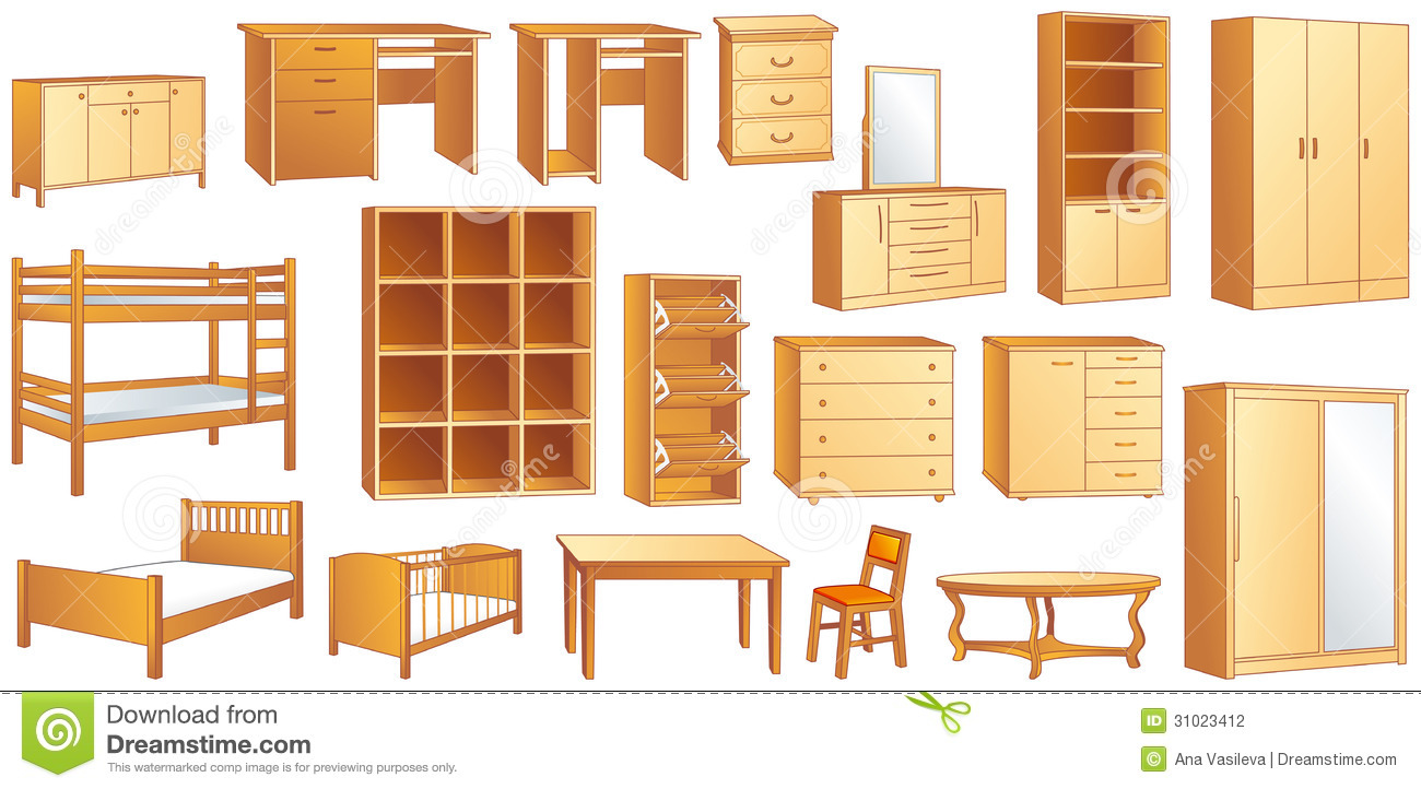 Wood bed with drawers - Wooden Furniture Set Vector Illustration Stock Photography Image