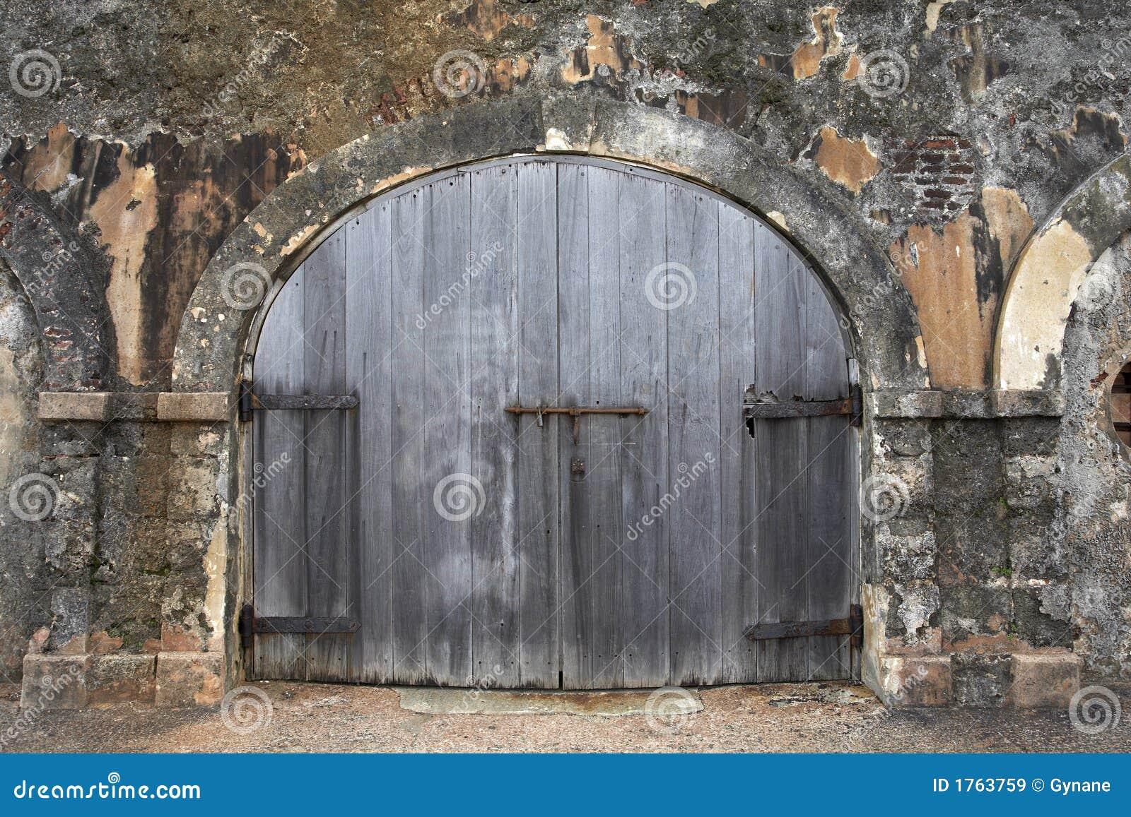 Wooden Garage Door Stock Image Image Of Weathered Wood 1763759