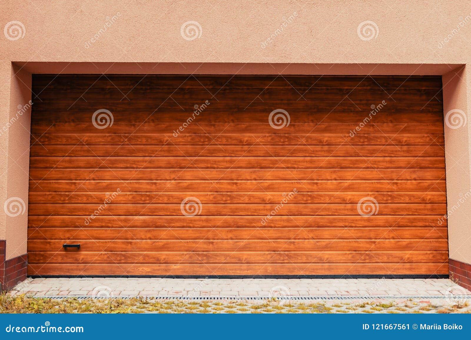 Wooden Garage Door Modern Garage In New Building Stock Image