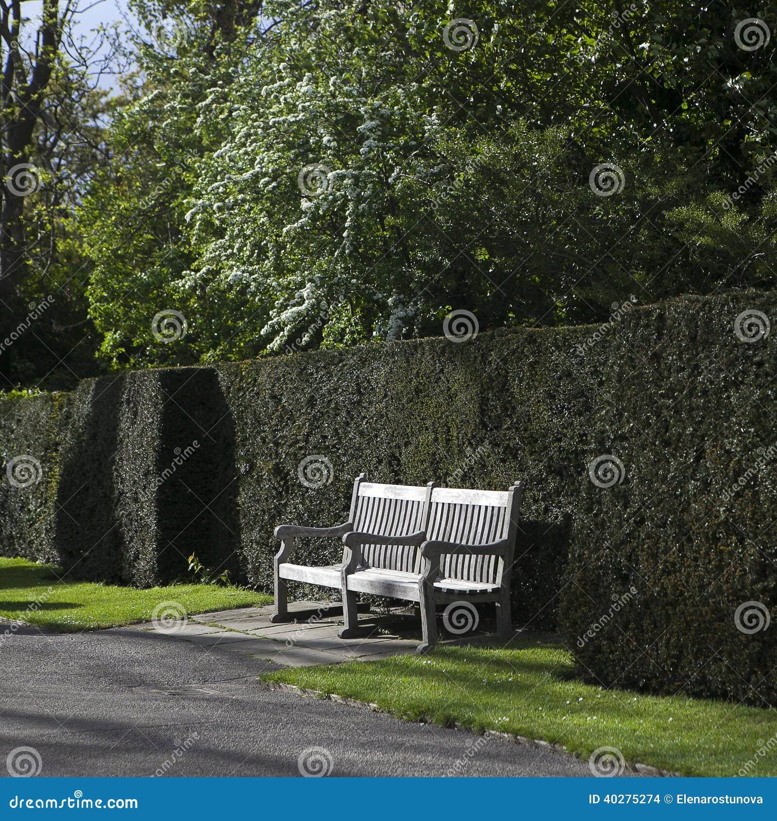 Wooden Garden Bench In English Garden Stock Photo Image 40275274