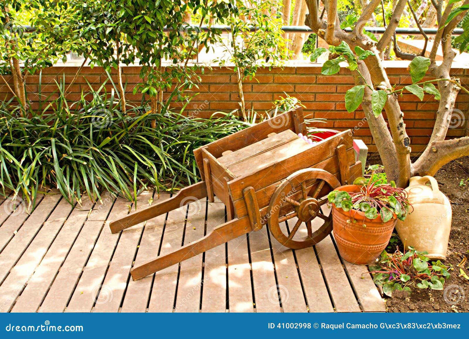 Wooden garden cart stock photo. Image of green, wagon - 41002998