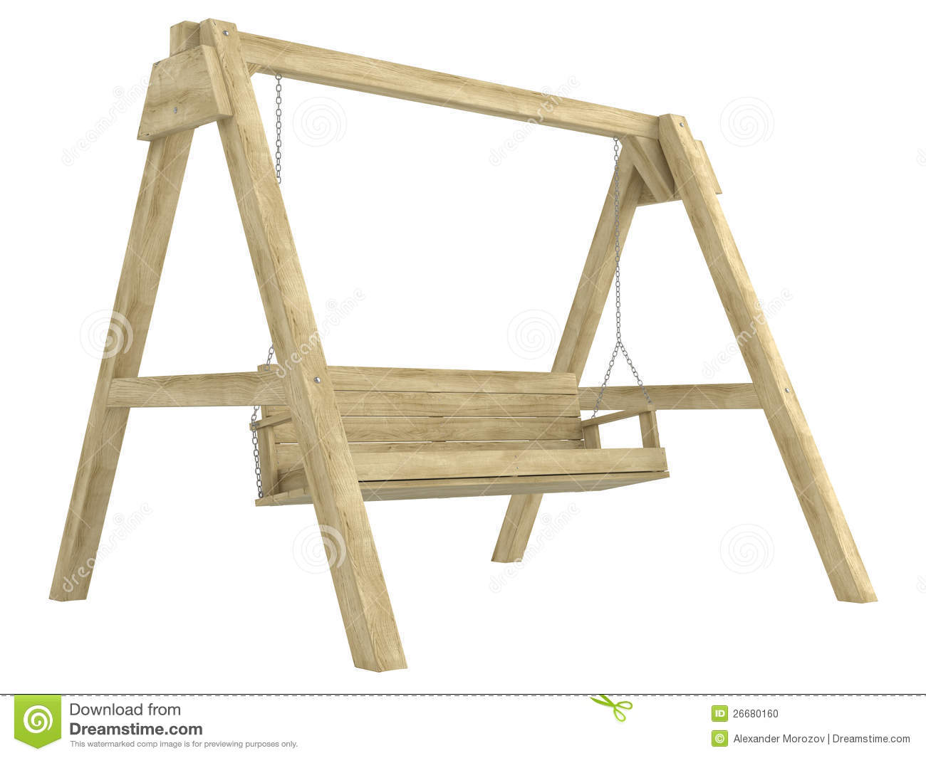 Wooden Garden Swing Bench Stock Photo - Image: 26680160