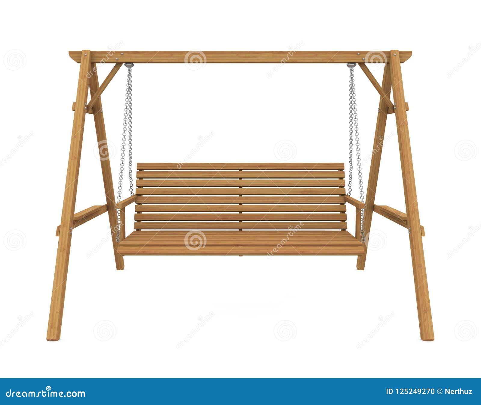 Wooden Garden Swing Seat Isolated Stock Illustration