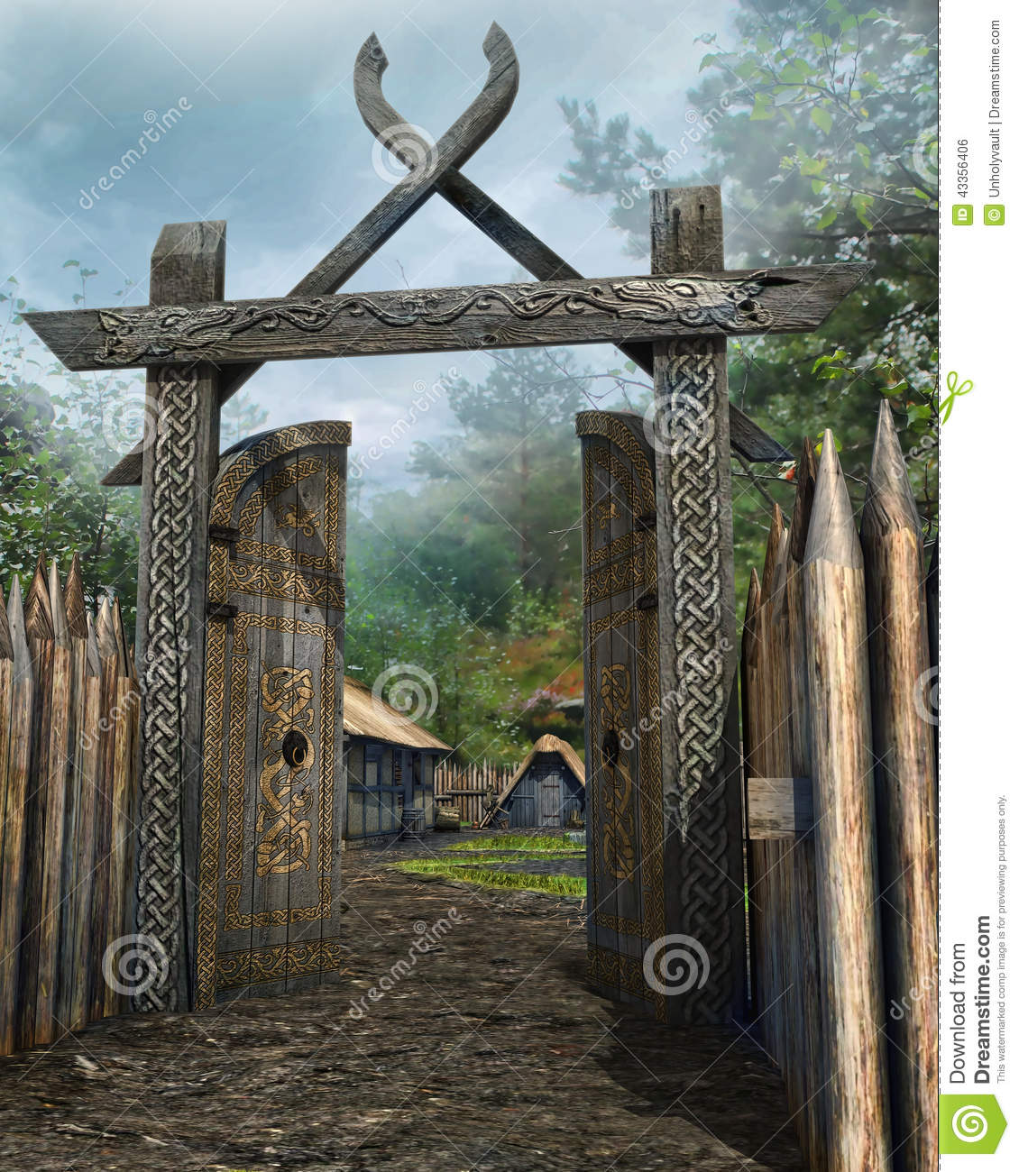 https://thumbs.dreamstime.com/z/wooden-gate-to-medieval-village-old-forest-43356406.jpg