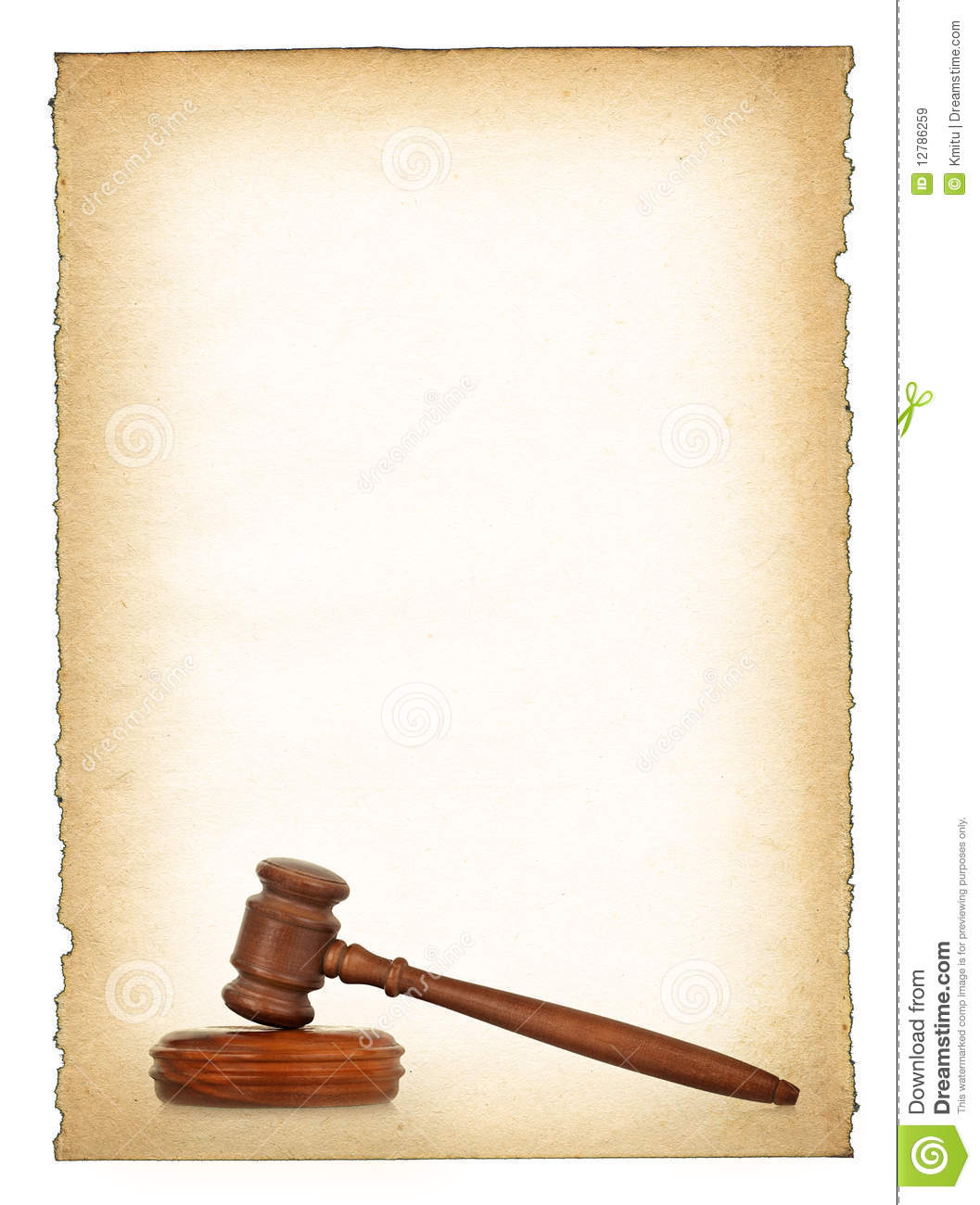 Wooden Gavel Against Old Dirty Paper Background Royalty