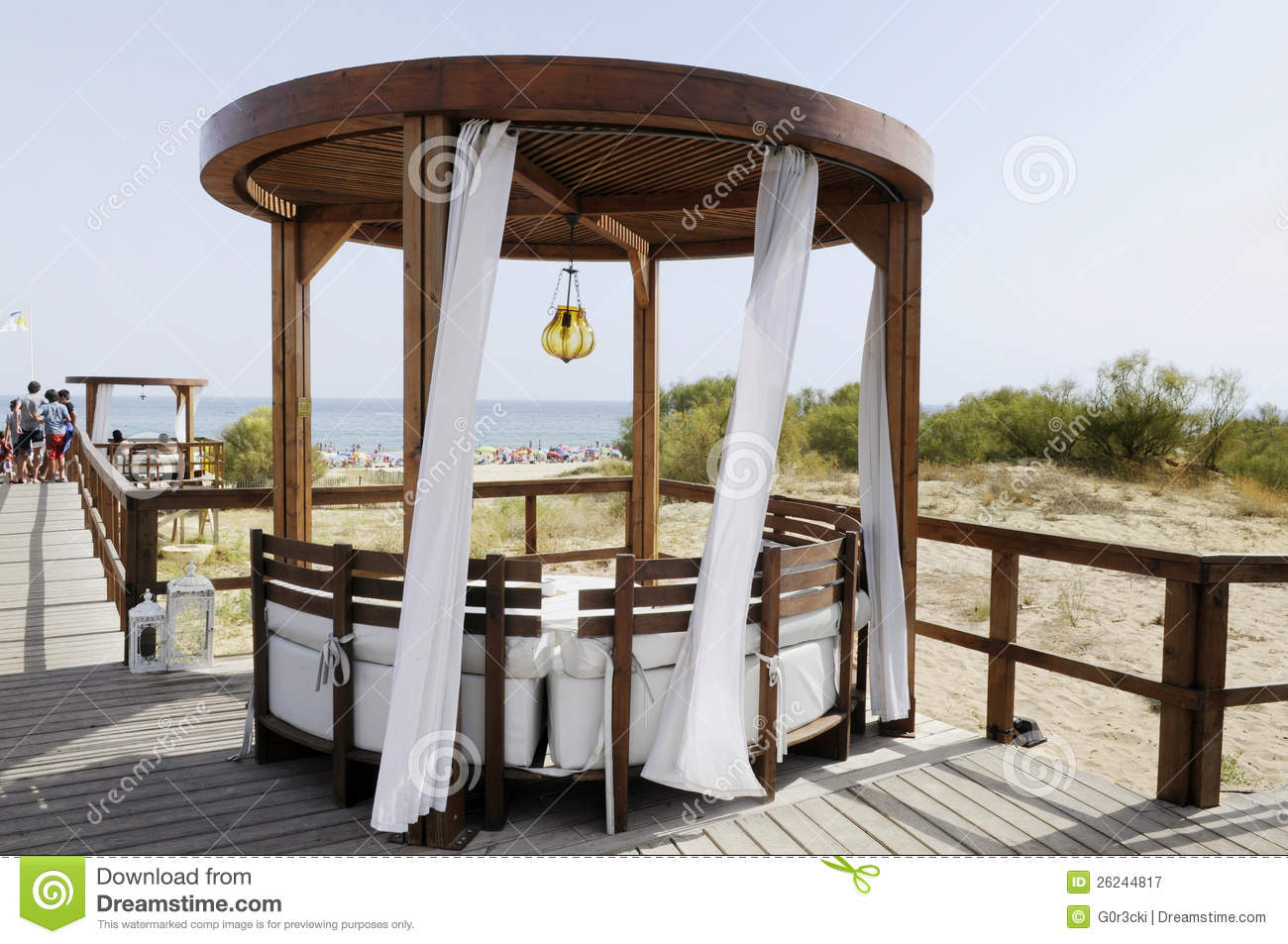 Wooden Gazebo At The Beach Wood Canopy Summer Stock
