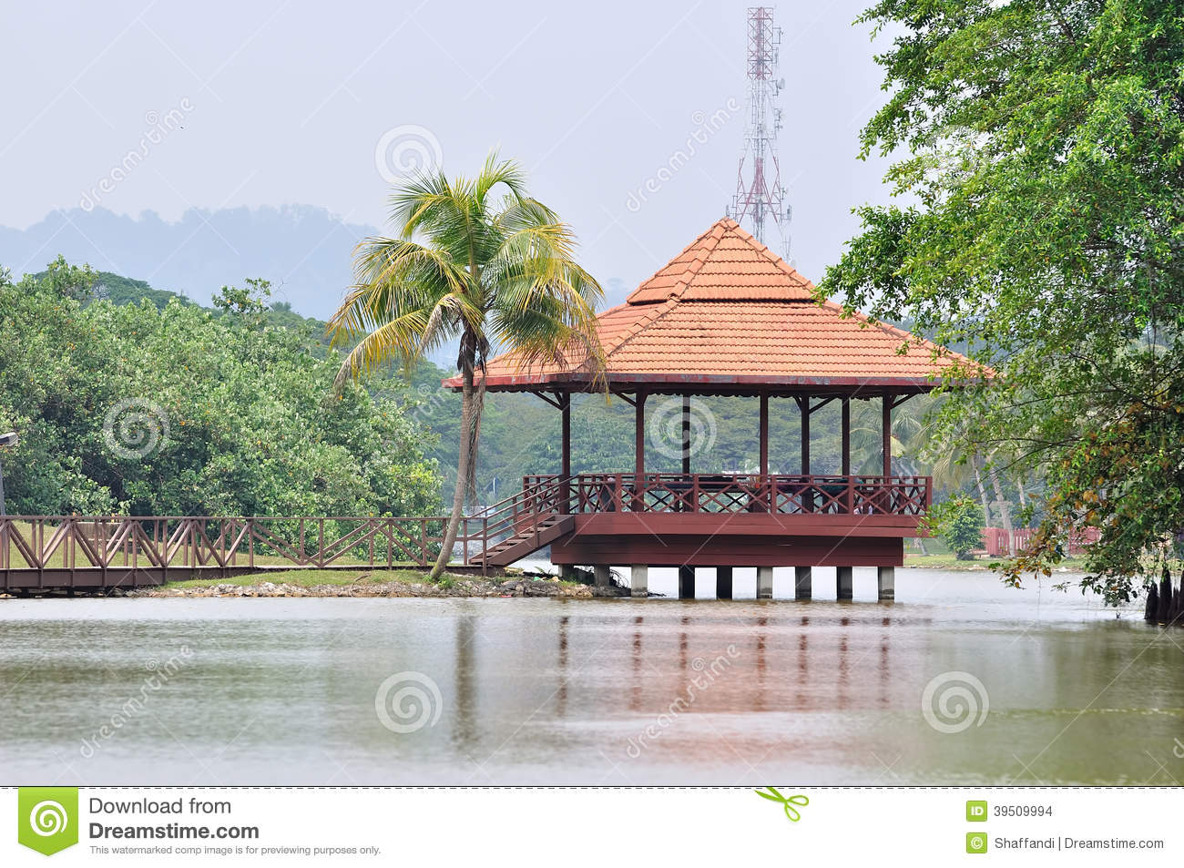 The wooden gazebo