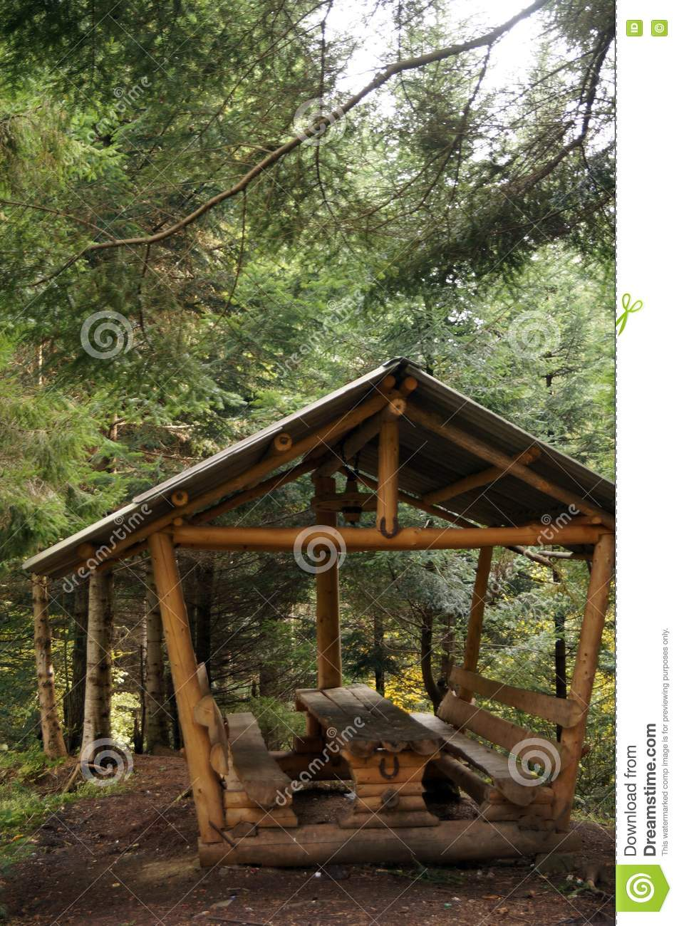 Brilliant A Wooden Gazebo With Table And Benches Stock Photo Image Ibusinesslaw Wood Chair Design Ideas Ibusinesslaworg
