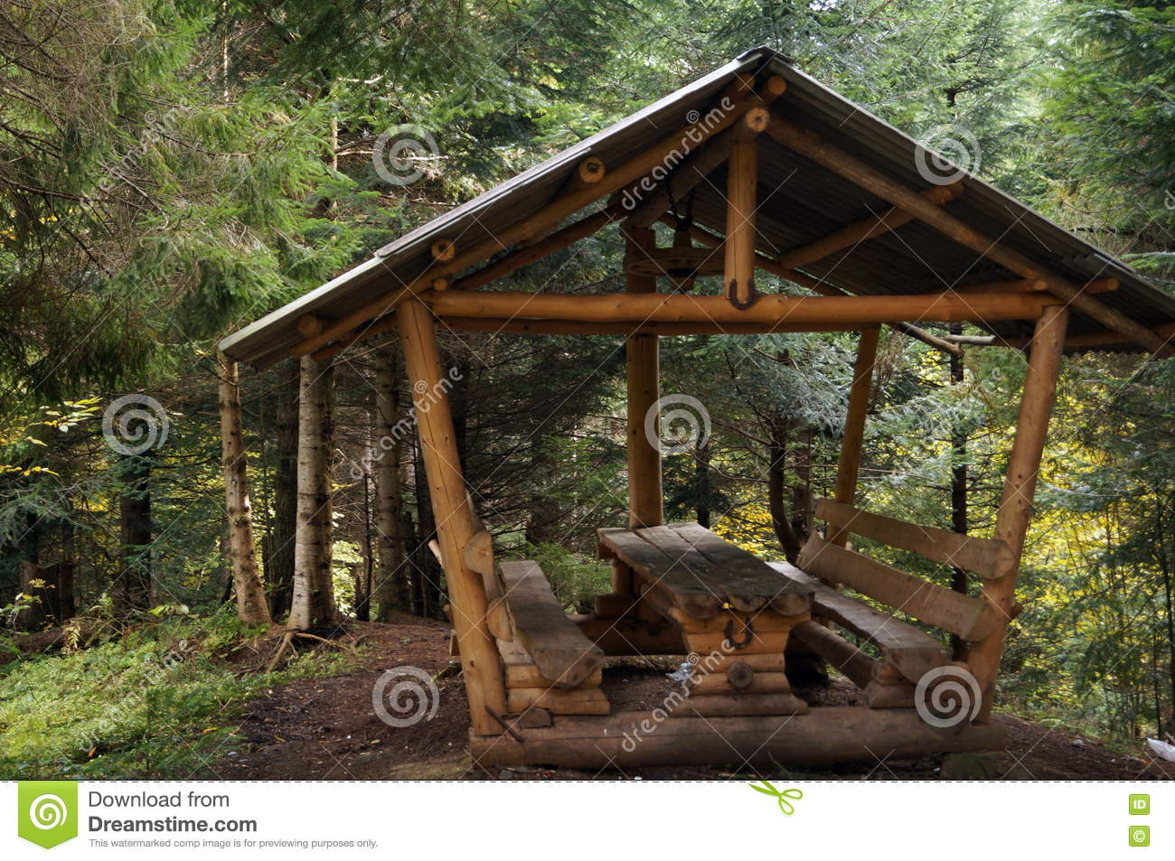 Super A Wooden Gazebo With Table And Benches Stock Image Image Ibusinesslaw Wood Chair Design Ideas Ibusinesslaworg