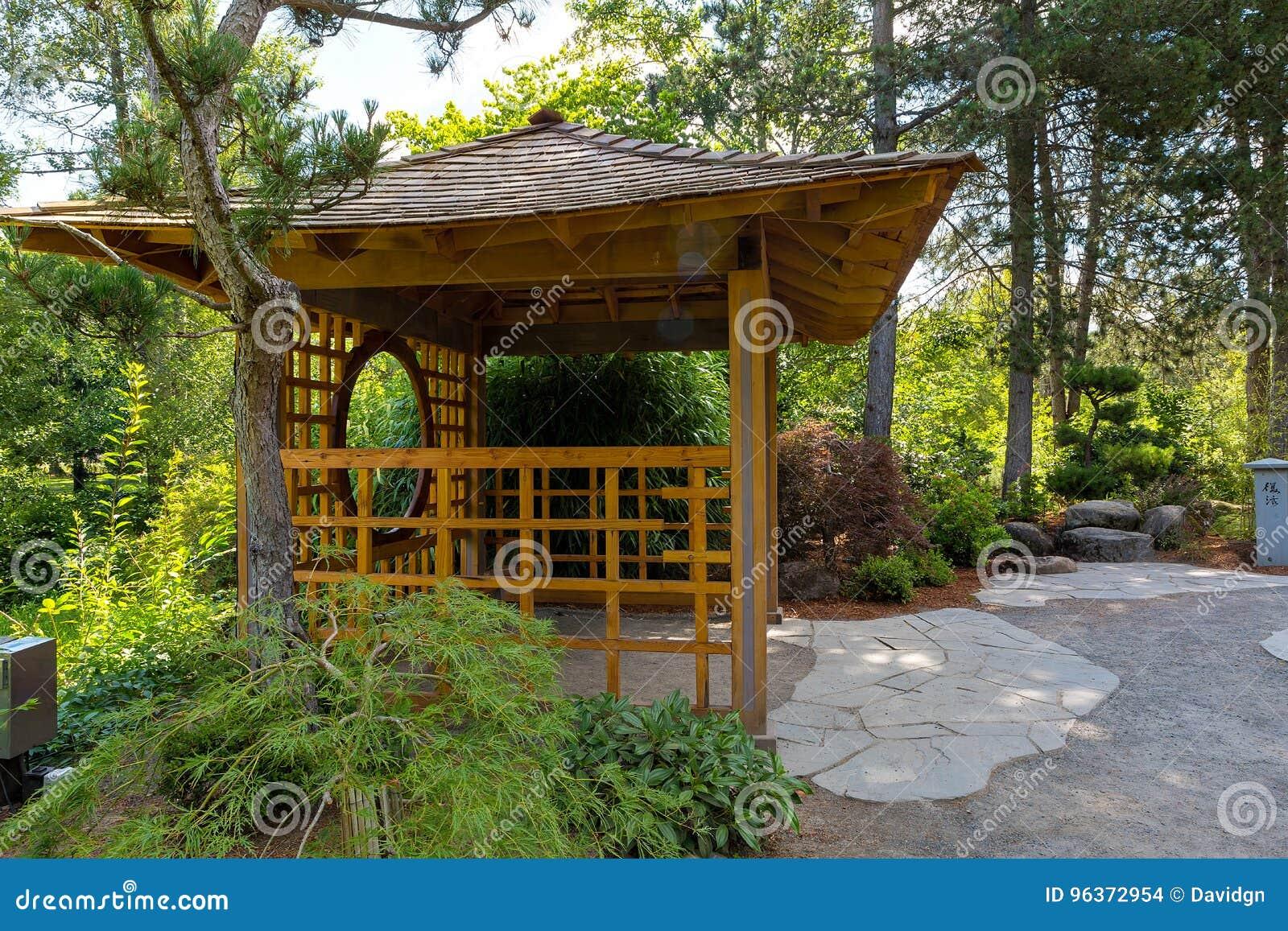 Wooden Gazebo At Tsuru Island Japanese Garden Stock Photo - Image of ...