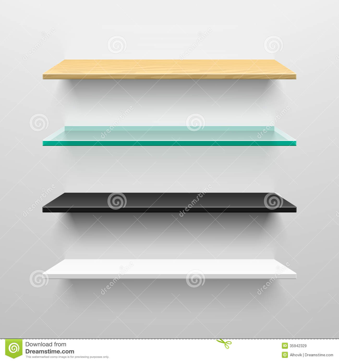 Wooden, Glass, Black And White Shelves Royalty Free Stock ...