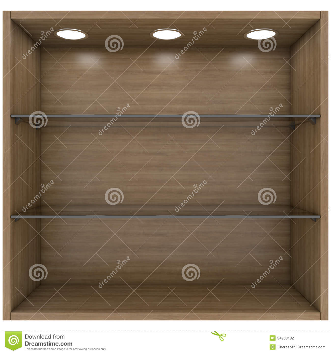 Wooden And Glass Shelves With Built-in Lights Stock ...