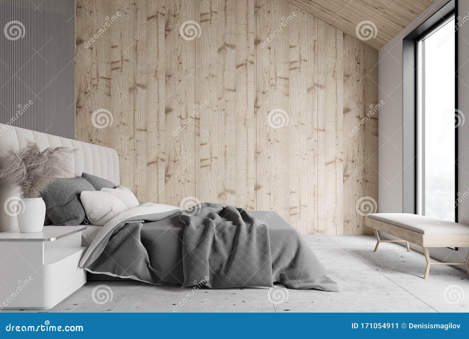 Wooden And Gray Attic Bedroom Interior Stock Illustration