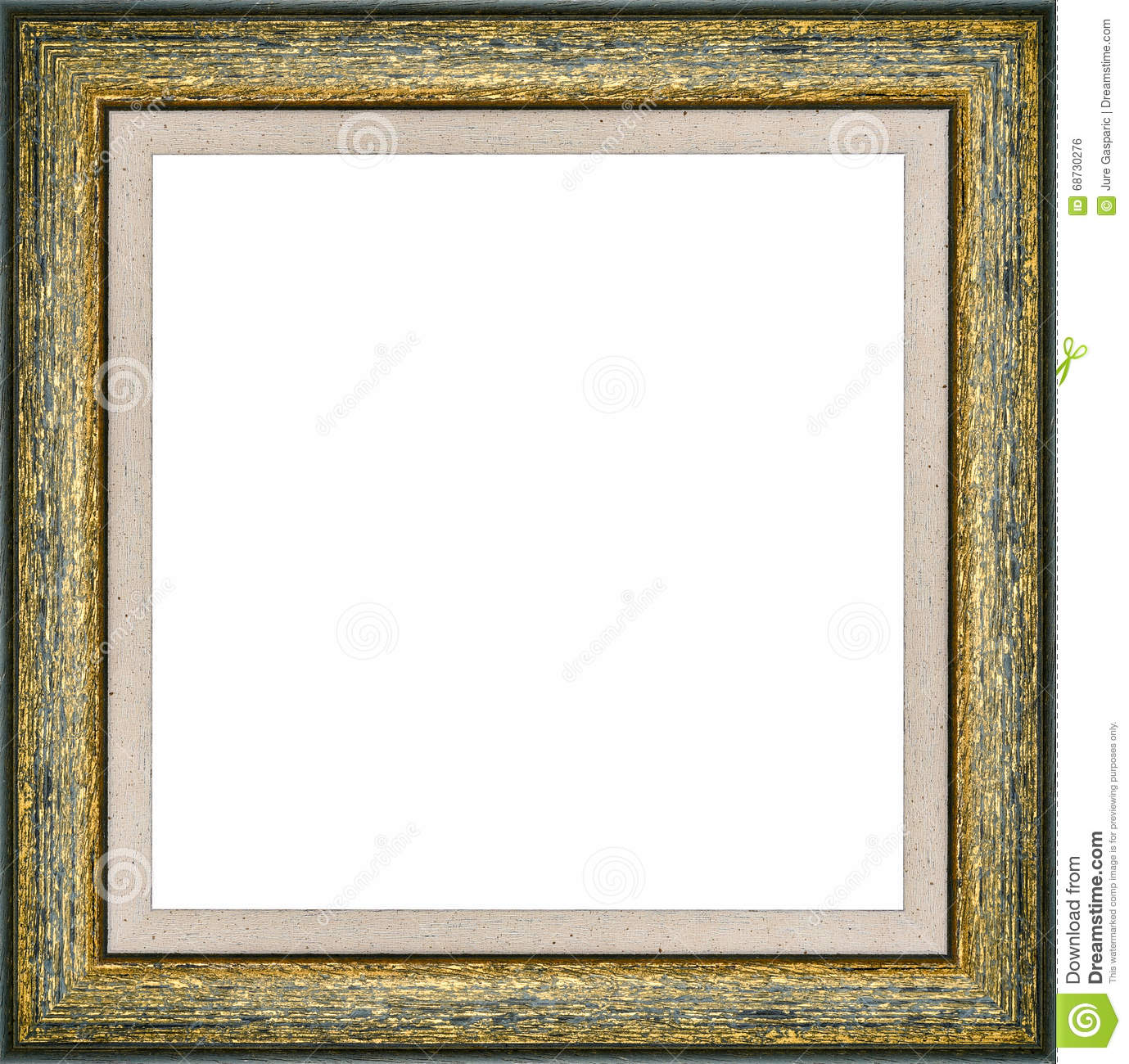 Wooden Green Vintage Picture Frame Stock Illustration - Illustration ...