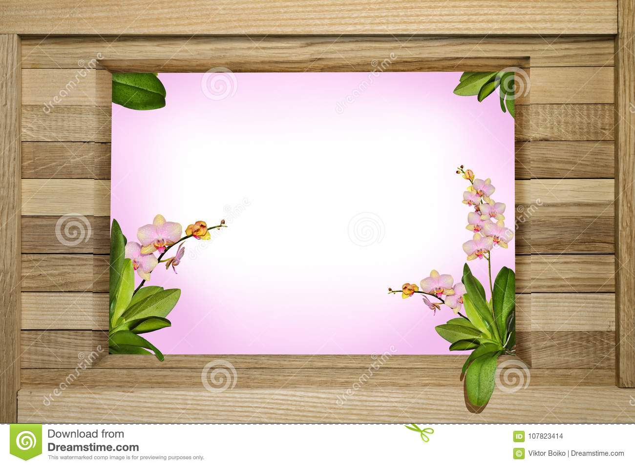 Wooden Greeting Frame With Orchids Stock Photo - Image of postcard ...