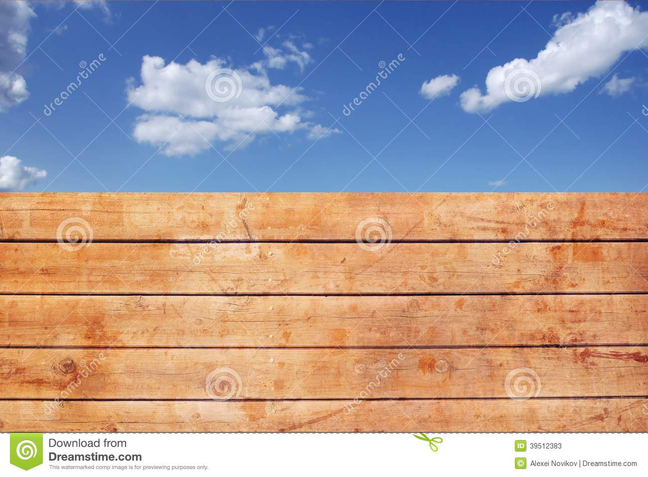 Wooden Grungy Fence and cloudy sky, XXXL Backgrond