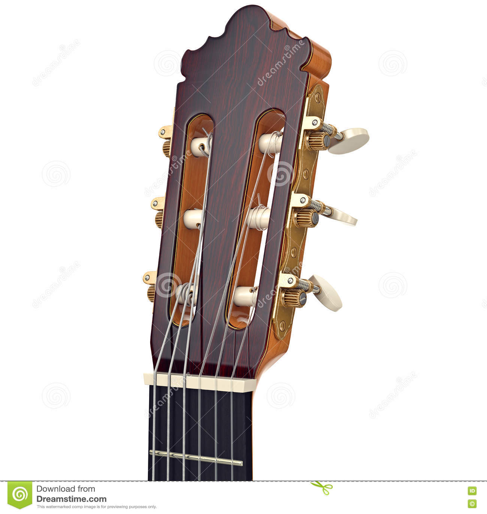Wooden guitar headstock fingerboard, close view