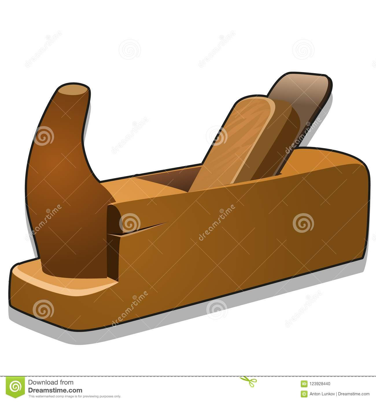 Wooden hand planer or jack-plane isolated on white background. Vector cartoon close-up illustration.