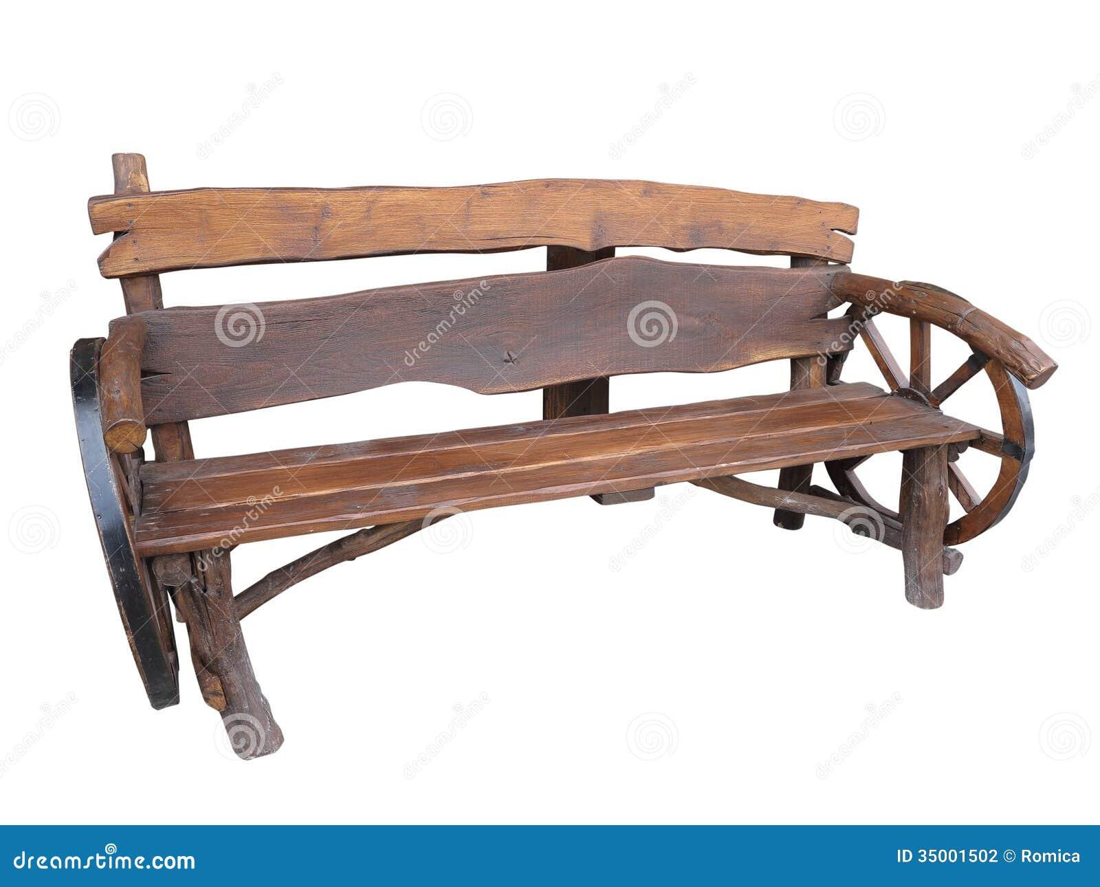 Wooden Handmade Garden Bench With Cart Wheel Decoration