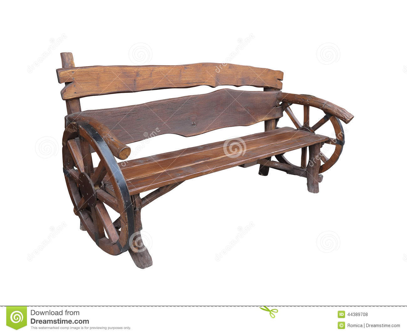 Download Wooden Handmade Garden Bench With Cart Wheel Decoration Isolated  Stock Photo   Image Of Landscape