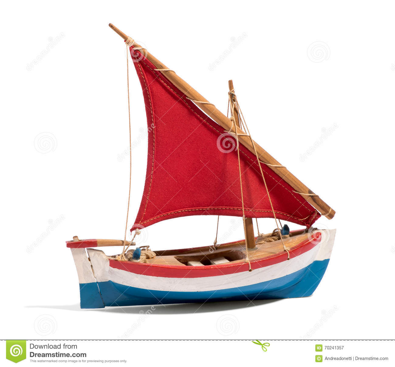 Wooden Handmade Toy Boat With A Red Sail Stock Photo - Image: 70241357